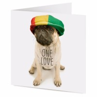 One Love Pug Blank Card
