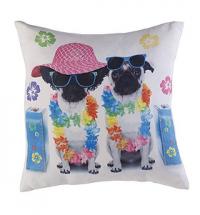 Pug Holiday LED Light Up Cushion