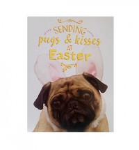 Sending Pugs & Kisses Pug Bunny Easter Card