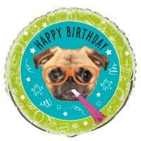 Pug Party 18″ Foil Helium Balloon