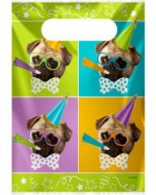 Pug Party Plastic Loot Gift Bags Pack Of 8