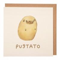 Pugtato Funny Blank Pug Card