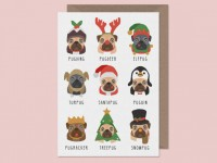 """punny"" Pug Christmas Card"