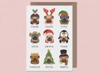 """""""punny"""" Pug Christmas Card"""