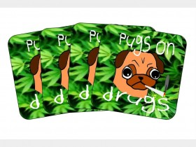 Pugs On Drugs Coaster Set Of 4