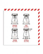 Funny Smell No Evil Pug Card By Gemma Correll