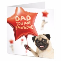 Dad You're Pawsom Pug Blank Card
