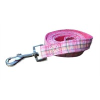 Pink Plaid Wagytail Lead To Match Blue Polo Harness