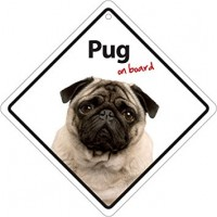 Pug On Board Car Window Sign