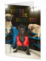Black Boxer Pug Blank Card