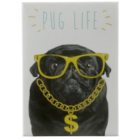 Black Pug Life Fridge Magnet