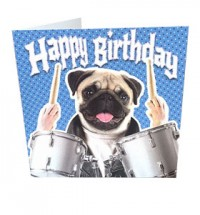 Drummer Pug Birthday Card