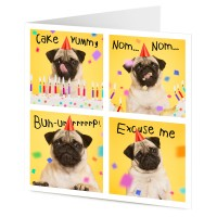 Greedy Pug Birthday Card