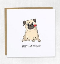 Sweet Pug Happy Anniversary Card