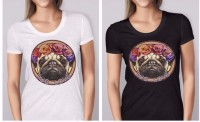 Ladies Hippy Pug T-Shirt (Available in 2 colours)