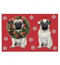 Two Pug Christmas Stick on Gift Tags
