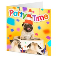 Party Time Pug Blank Card