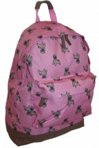 Pug Patterned Medium Sized Rucksack  in Navy Or Pink