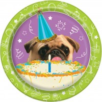 Pug Party Paper Plates Pack Of 10
