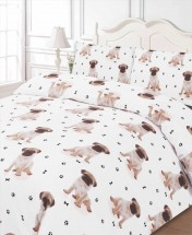 Fawn Pug Puppy Single Duvet Set