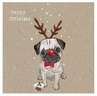 Rudolph Pug Christmas Card