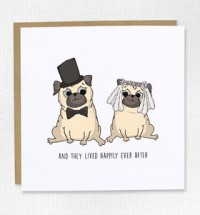 Bride & Groom Pugs Wedding Card