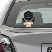 Afro Pug Car Window Sticker