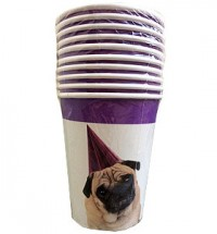Pug Party Paper Cups Pack Of 10