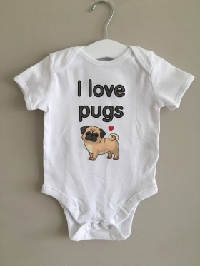 I Love Pugs Baby Vest