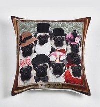 The Pugsly Family Photo Cushion Cover