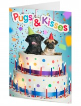 Black & Fawn Pugs In Cake Blank Card