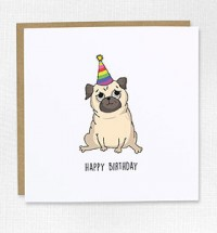 Pug Striped Party Hat Birthday Card
