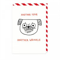 Another Year Another Wrinkle Pug Card By Gemma Correll