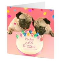 Pug Birthday Cake Card