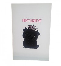 Black Pug Cartoon Birthday Card