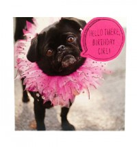 Black Pug Tutu Birthday Card