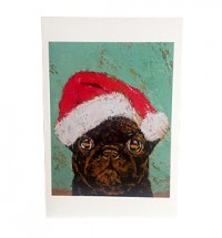 Black Pug Santa Christmas Card