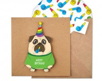 Pug Handmade Birthday Card