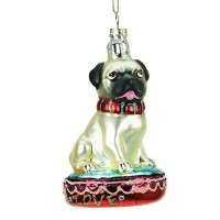 Pug Glass Christmas Decoration