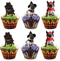 12 Halloween Pug Cupcake Toppers