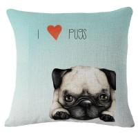 I Love Pugs Cushion Cover