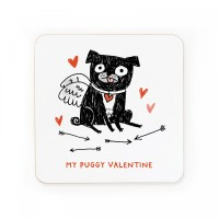 My Puggy Valentine Coaster By Gemma Correll