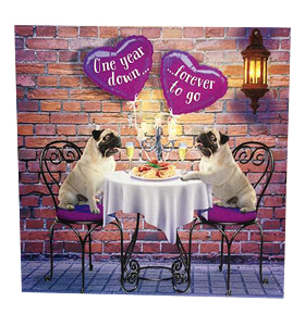 Pug 1st Anniversary Card
