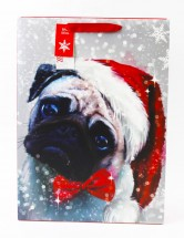 Extra Large Painted Effect Pug Christmas Gift Bag