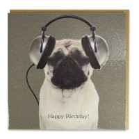 Pug In Headphones Glittered Birthday Card