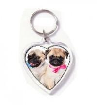 Pug Puppy Heart Shaped Keyring