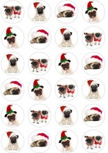 24 Pug Christmas Edible Cupcake Toppers