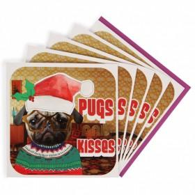 Luxury Pugs & Kisses Christmas Card