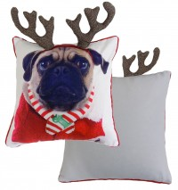 Christmas Pug Reindeer Cushion