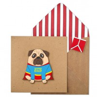 Pug Super Dad Birthday Card
